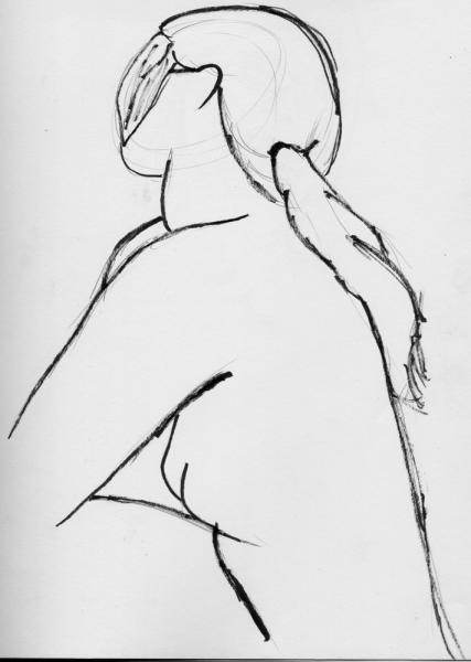 Ink Nude: From an old (relative to posting date) meeting of the CPSG, where for the first time we had a real, live, nude model.  Of course, I wasn't so well prepared and all that.  This was one of the better ones, made quickly with a brush pen running out of ink.  Almost art deco.