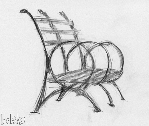Bench: A very quick bench.  Was still recovering from trying to draw flowers.